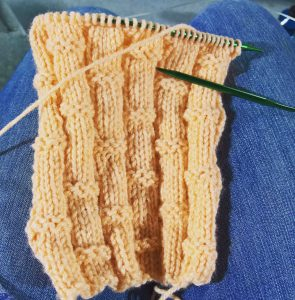starting a bamboo stitch scarf