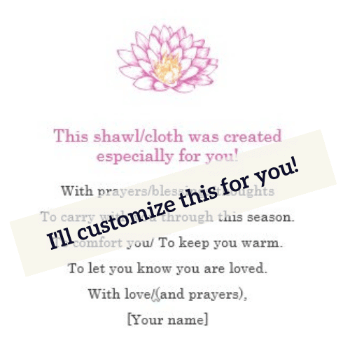 Customized Prayer Shawl/Cloth Cards