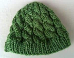 Green Cabled Baby Hat - Kate S of Needle & Spatula