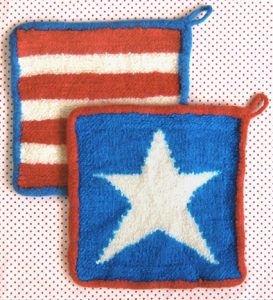 Stars + Stripes felted hot pads